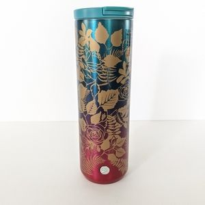 Starbucks Ombre Gold Floral Stainless Steel Mug